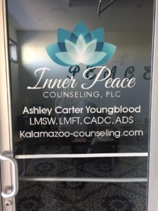 Kalamazoo Counseling Inner Peace door sign